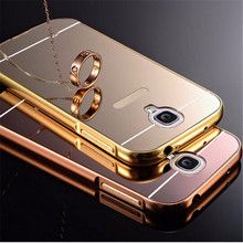 For Samsung Galaxy S4 Mini Case Mirror Acrylic Back Cover Luxury Arc PC Aluminum Metal Frame For Samsung Galaxy S5 Mini Cases