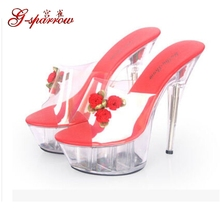 Stiletto Sexy Transparent Glass Slipper Wedding Shoes Platforms Flowers Size 10 15 cm Super High Heel