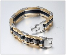 "Promotion Sale Gold Black Biker Chain Bracelet 316L Stainless Steel Greek Design Bling 11mm 8.66"" High Quality 74.5g"