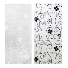 "45*100cm/17.7""*39.4"" Frosted Opaque Glass Window Film Privacy Glass Stickers Home Decor Black&white Wrought Iron Flower"