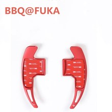 BBQ@FUKA 2Pcs Red/Silver/Black/Blue Car Wheel Steering Gear Shift Paddle Extensions Fit For Ford Mustang 2015 2016 Car-Styling(China)