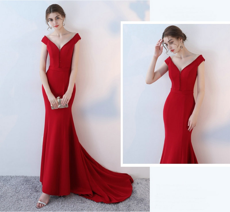 Elegant Burgund Mermaid Bridesmaid Dresses 2018 New Sexy Bridesmaid Dress Long V-Neck Elastic Satin Crystal wedding Party Gowns 6