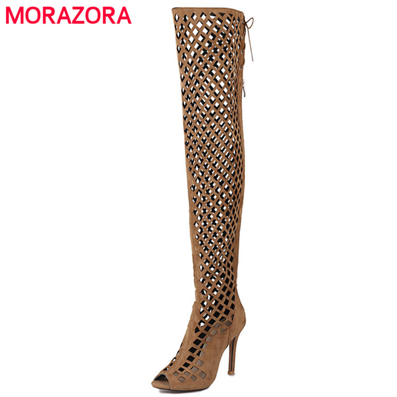 MORAZORA Peep toe thin heels shoes woman over the knee boots zipper ribbon summer boots sexy lady fashion big size 34-46<br>