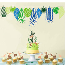 3meters long Creative plant leaves ornaments pull flag tropical theme party classroom window decoration(China)