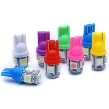 T10 W5W WY5W 5 SMD 5050 LED 5smd 5led Car marker light motor parking lamps bulb 12V white red blue green yellow