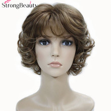 Strong Beauty Synthetic Wigs Women's Curly Ends Short Fiber Wig With Layered Bangs 16Colors(China)