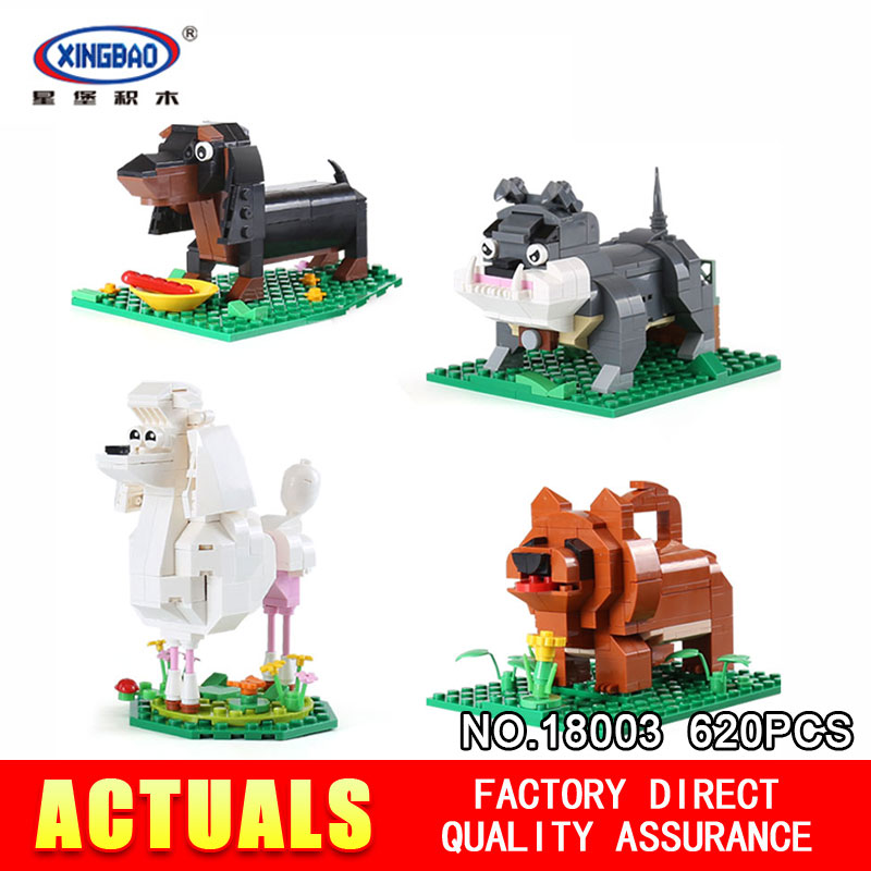 XingBao 18003 620Pcs Genuine Cute Puppy The Four Puppy in One Set Model Building Blocks Bricks Toys Model For Children  <br>