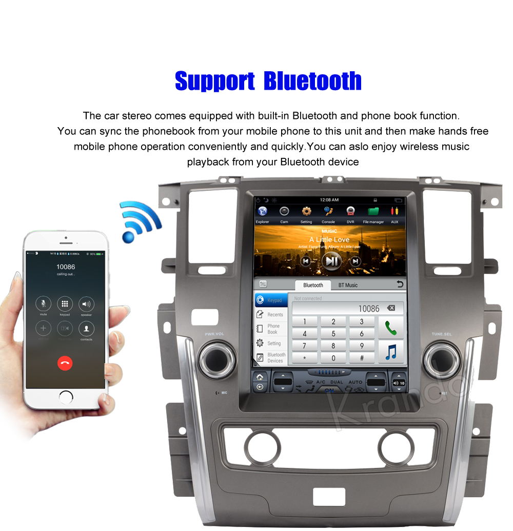 Krando Vertical screen android car radio multimedia for Nissan patrol low version big screen navigation with gps system (5)