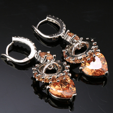 Angelic Champagne Brown Orange Morganite Multigems 925 Sterling Silver Circle Shape Trendy Drop Dangle Earrings S5131