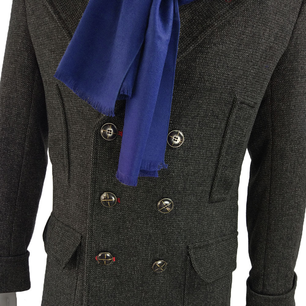 Cosplay Sherlock Holmes Cape Coat Costume Wool Long Jacket Outfit With Scarf New9