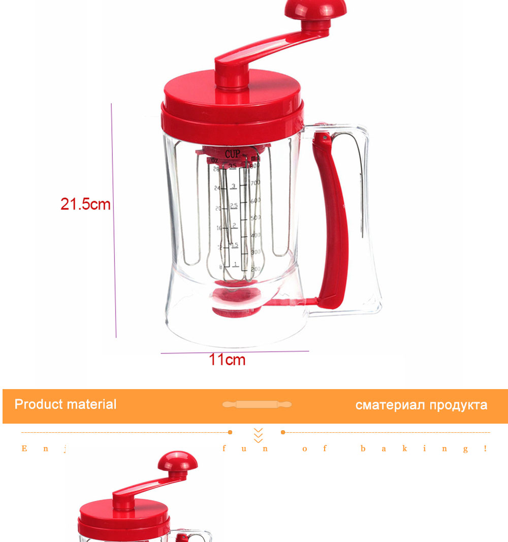 3-in-1 Manual Mixer Batter Dispenser for Cupcakes Muffins Cake Waffles Pancake Machine with Measurements Cookie Tools 010 (15)