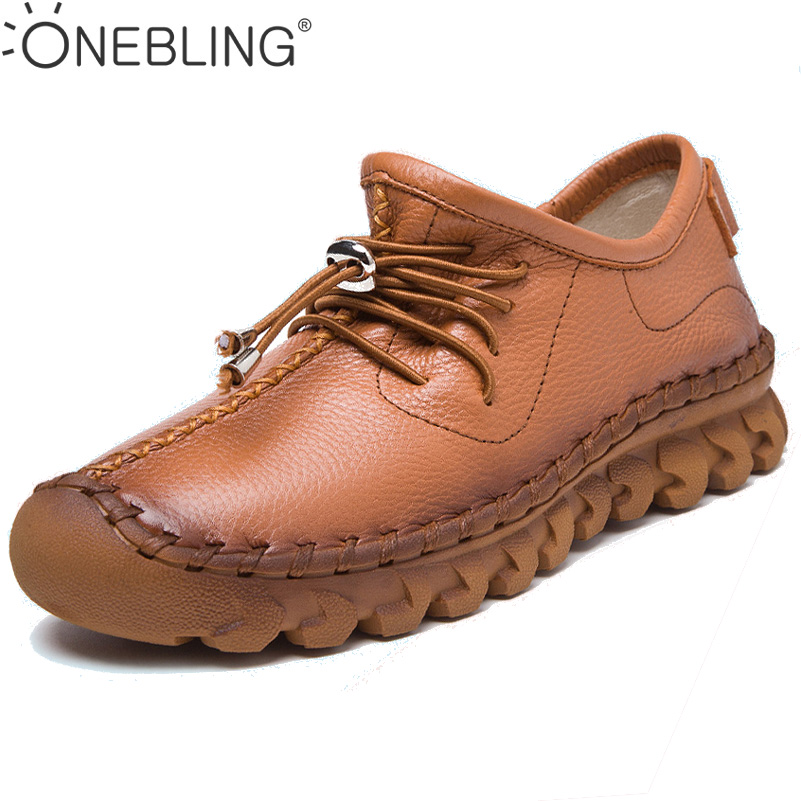 ONEBLING Size 35-40 Women Casual Shoes 2017 Autumn Fashion Lace up Sewing Shoes Genuine Leather Flat Shoes Slip-on Lazy Shoes<br>
