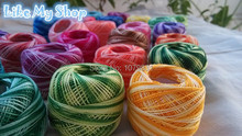 100% cotton variegated thread 8S crocheting yarn cross stitch embroidery thread knitting thread(China)