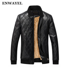 ENWAYEL Autumn Winter High Quality Soft PU Male Faux Leather Jacket Men Casual Thick Warm Velvet Classic Mens Jackets Coat J009(China)