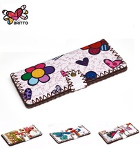 Purchase ROMERO BRITTO Wallets Fashion Trends Multi-card Position Two Fold Wallets lady Long Button Clutch Purse Card Holder