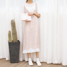 Free Shipping 2017 Korean Sty Nda summer new sweet lovely art lace Dress Two Pieces temperament Vintage fashion Long Holiday