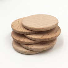 30pcs 37mm Natural Flat Wood Round beads no hole unfinished DIY wood chips Circles Wood Discs Wooden Tags Labels