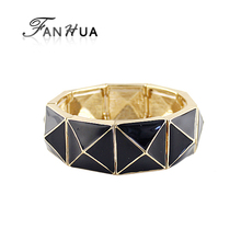 FANHUA Green Black Enamel Elastic Handmade Bracelets Bangles New Fashion Bijuteria(China)