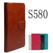 Genuine Luxury Original Flip PU Leather Case Cover For Lenovo S580 Phone Bags +Touch Pen Gift