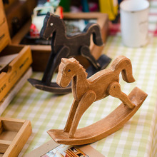 Free Shipping(2pcs/lot) Solid Wood Carving Trojan Rocking Horse Childhood Memory Home Furnishing Decoration(China)