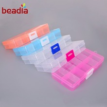 Hot 10 Slots Cells Plastic Acrylic Beading Storage Box Best Organizar Adjustable Splittable Transparent For Jewelry Packaging