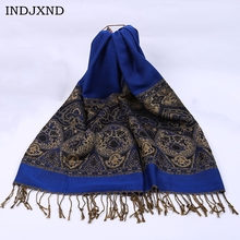 INDJXND Winter Multicolor Fashion Gold Cashew Flower Tassel Ethnic Style Shawl Women's Scarves Artificial Cotton High Quality(China)