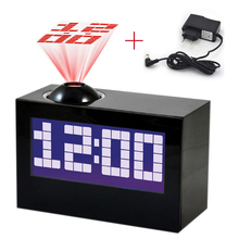 Laser Projecting Alarm Clock Large Display Time Date Temperature Projector With digital colorful backlight table clock(China)