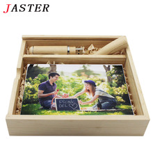 JASTER customer LOGO Maple Wooded Photo Album pen usb + Box Memory stick Pendrive 4GB 8GB 16GB 32GB Photography Wedding gift