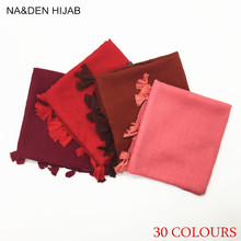 2017 Hot sale Fringes Plain Hijabs Viscose Women Solid Shawl Wrap Large Head Scarf Islamic Ladie Tassels Design 20pcs/lot(China)