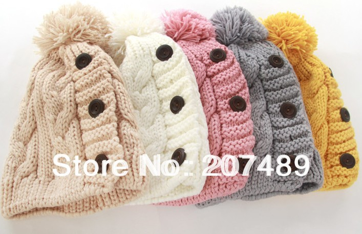 ladiess fashion three button Knitted hat Beanie Cap Autumn Spring Winter multi colors optionÎäåæäà è àêñåññóàðû<br><br><br>Aliexpress
