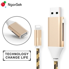 NganSek Share Power Data Transmission USB Cable For iPhone 6 7 Plus Lighting Cable Phone Camera Data Sharing Female Male USB