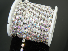 Free Shipping! SS22 10Yard Per Roll Crystal Rhinestone Cup Chain Crystal AB !2012 Rhinestone Chain