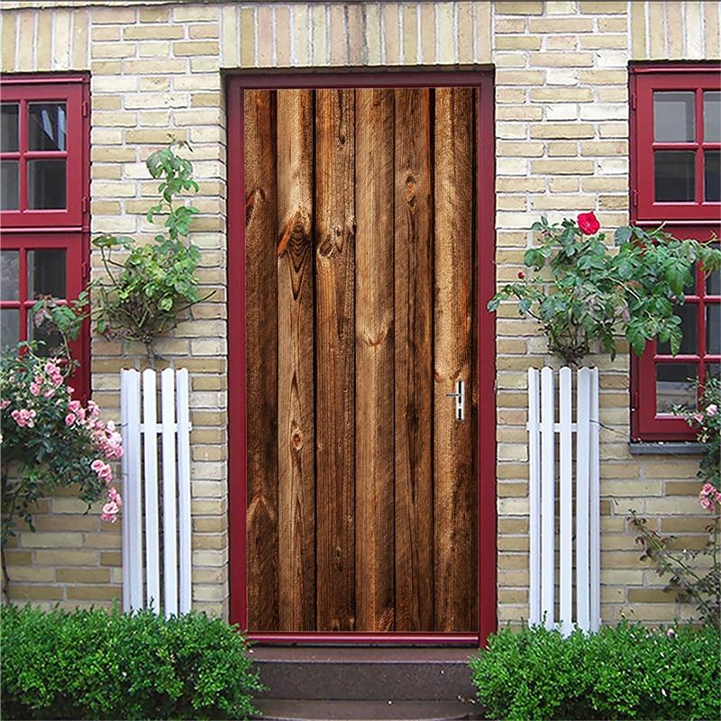Creative 3D Door Stickers Brown wooden door PVC Waterproof Door Renovation Mural Self Adhesive DIY Home Decor Decal 77x200cm