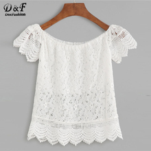 Dotfashion Boat Neck Crochet Lace Scalloped Hollow Out Womens Tops and Blouses 2018 White Cap Sleeve Slim Fit Off Shoulder Top(China)