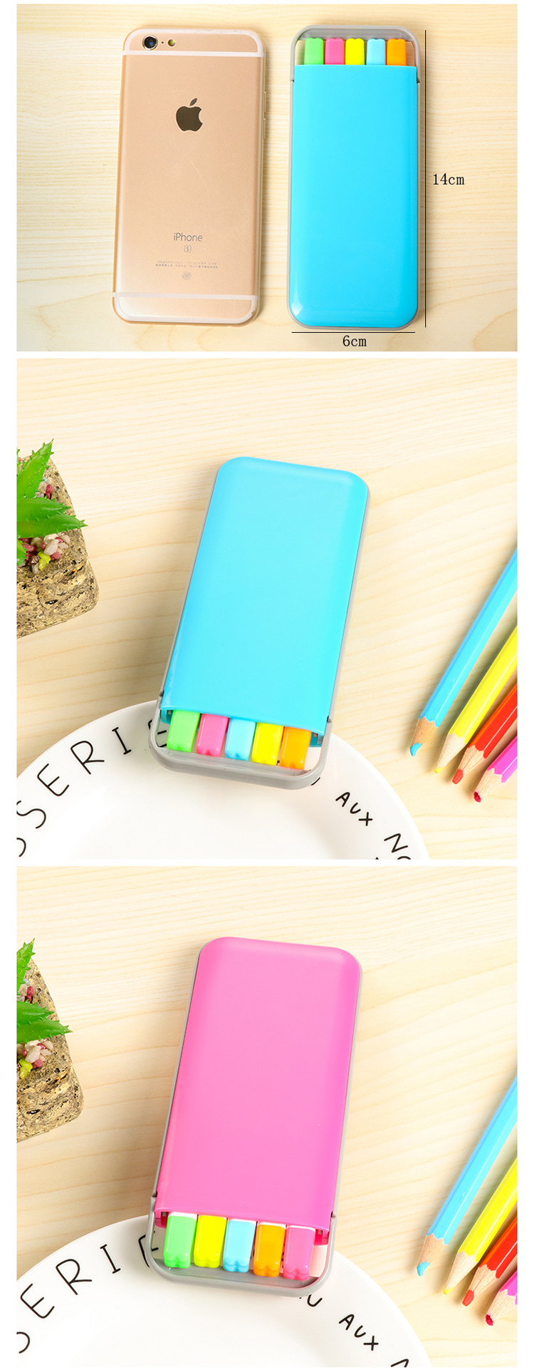 5 pcs/box Kawaii Mini Candy Colors Highlighter Pens Set Cute Kids Painting Drawing Highlighter Art Marker Pen Writing Stationery 7