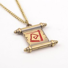 12 pcs/lot Wholesale Online Game Dota 2 Reel Necklace transfer scroll Fashion Dota2 Lover's Pendant jewelry gift man women(China)