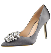 Silver Gold Gray Black Pink Women Bridal Wedding Shoes Faux Silk Satin Rhinestone Crystal Shallow Woman Pumps Stiletto High Heel