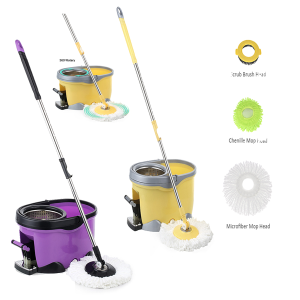iKayaa 360 Rotating Spin Mop Bucket Set with Foot Self-Wring Floor Mop+1 Microfiber Mop Head+Scrub Brush+Chenille Mop Head(China)