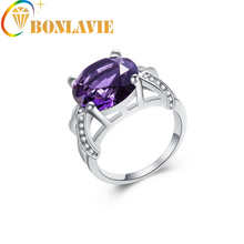 BONLAVIE 1pc Exaggerated Purple Crystal Ring Size 6 7 8 9 10 11 12 Bijoux Personalized Jewelry Lady Fashion Round Knuckle Retail