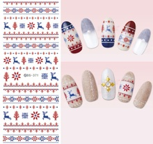 NEW DS371 Xmas Reindeer Knits Snowflakes Snow Nordic Water Transfer Nails Art Sticker Decal Winter Nail Wraps Tips(China)