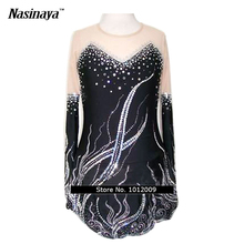 Customized Costume Ice Skating Figure Skating Dress Gymnastics Adult Child Girl Skirt Competition White Black Rhinestone Sequins