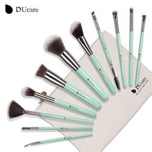 DUcare 11pcs makeup brushes set professional brushes light green make up brushes high quality brush with bag portable brushes