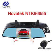 E-ACE Car Dvr With Two Camera Lens dvr Novatek 96655 Rearview Camera Mirror Auto Dash Cam Video Recorder FHD 1080P Night Vision
