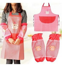 Women Restaurant Home Kitchen apron cartoon Printed Cooking Apron delantal cocina cute aprons for women Avent with sleevelet