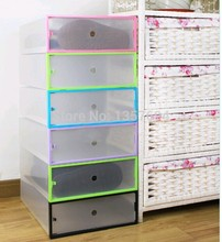 3pcs/lot Simple folding drawer Clear Shoe Storage Box Transparent Plastic Color Border Stackable Foldable Holder Long boots(China)