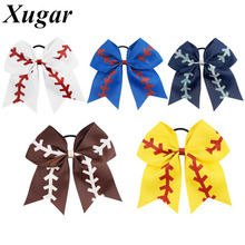 7'' Baseball Glitter Printed Cheer Bow Boutique Handmade Hair Accessories For Lovely School Girls