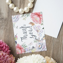 50pcs Mini thank you Card butterfly flower style leave message cards Lucky Love valentine Christmas Party Invitation(China)