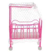 Plastic Cot Bed with Bed Net Dollhouse Furniture for Barbie Dolls(China)