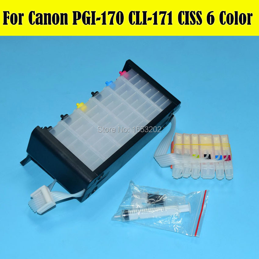 6 Color PGI-170 CLI-171 Continuous Ink Supply System Ciss For Canon MG7710 Printer With Auto Reset Chip<br><br>Aliexpress