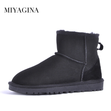 Top Quality 2018 New Fashion 100% Genuine Sheepskin Leather Snow Boots Natural Fur Women Boots Real Wool Ankle Shoes For Women(China)